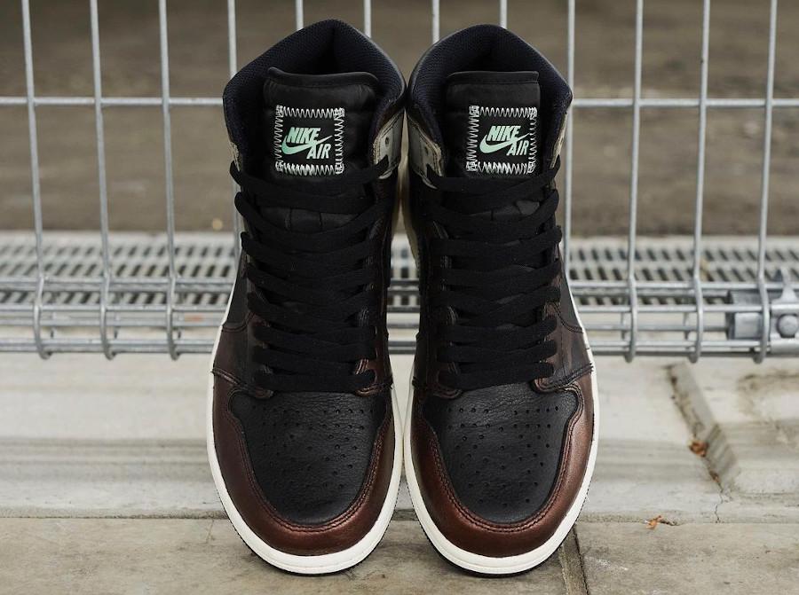 AJ1 en cuir marron patiné (2)