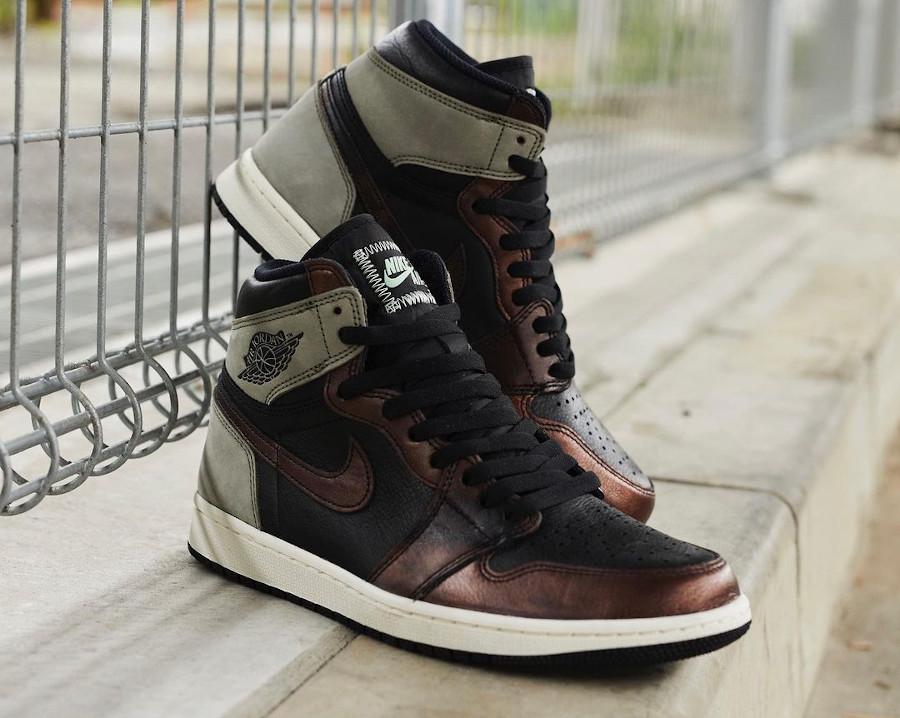AJ1 en cuir marron patiné (4)
