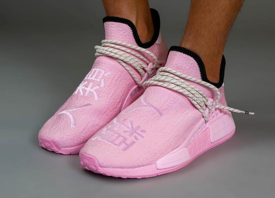 Adidas NMD HU 2021 rose bonbon on feet (1)