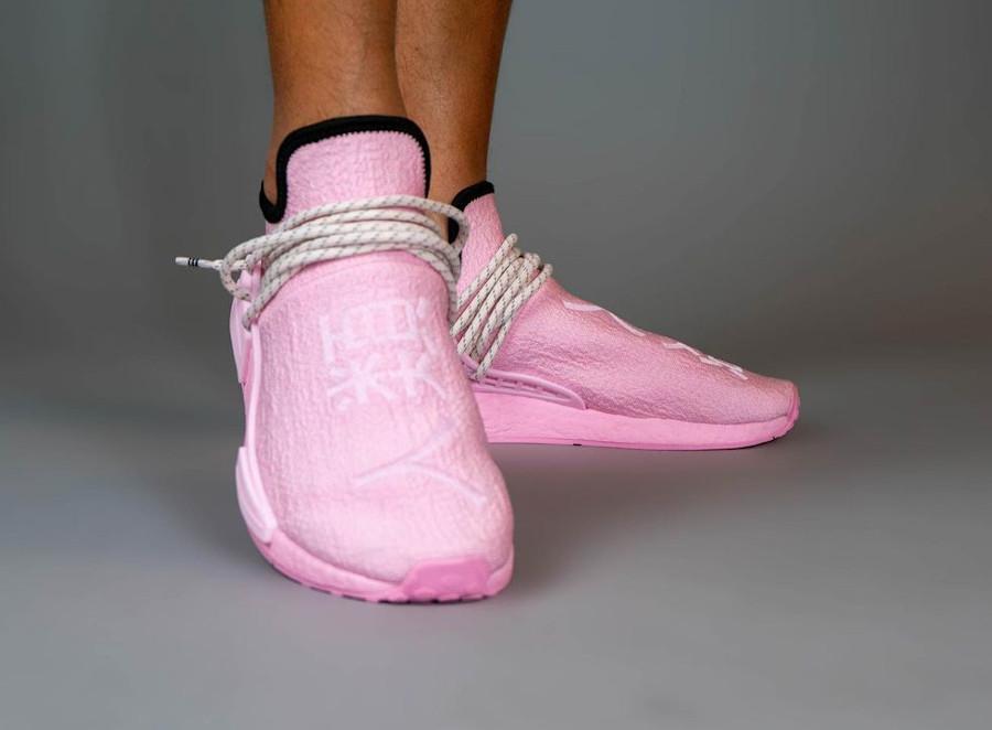 Adidas NMD HU 2021 rose bonbon on feet