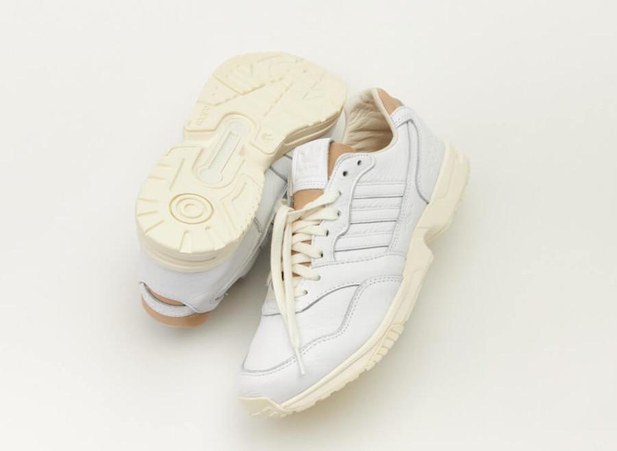 Adidas ZX 1000 en cuir prm blanc et beige (1)