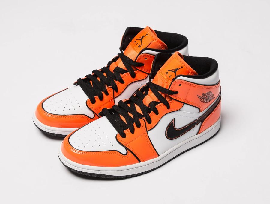 Air Jordan 1 mi-montante en cuir brillant mandarine (3)
