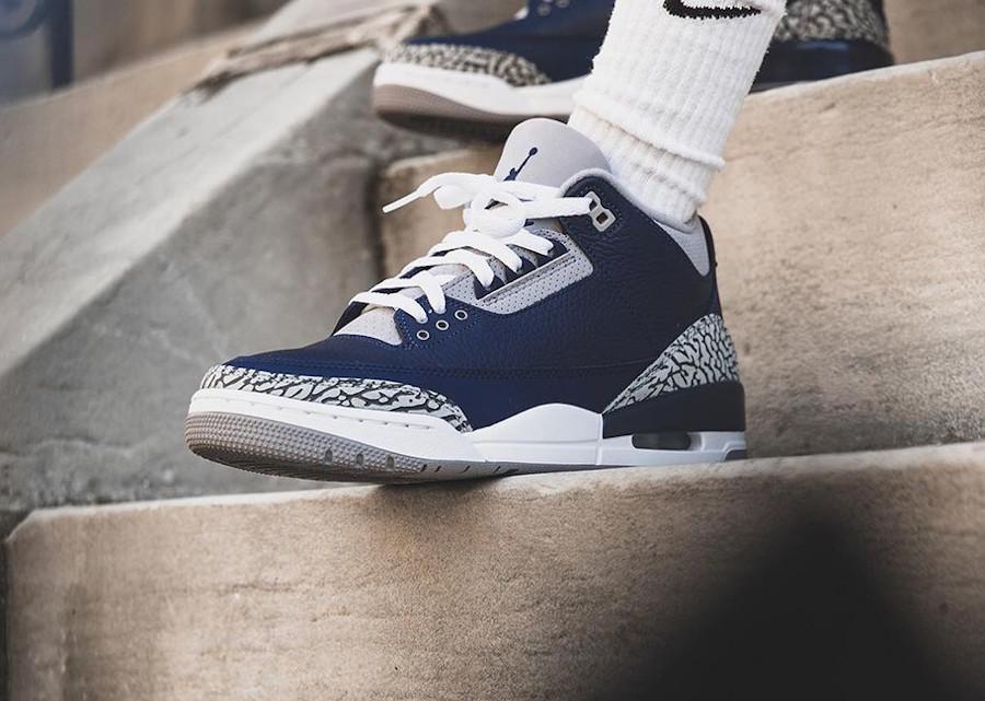 Air Jordan 3 bleu marine et grise 2021 (5)