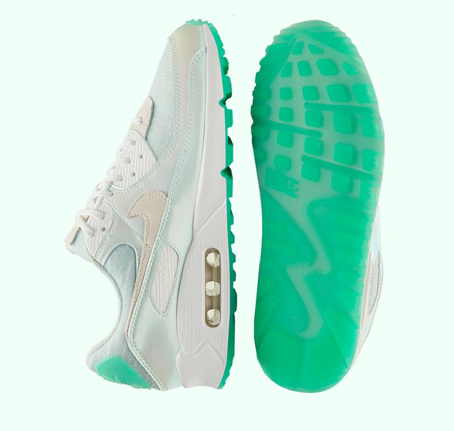 Nike Air Max 90 iridescent 2021 blanc cassé et vert jade (2)