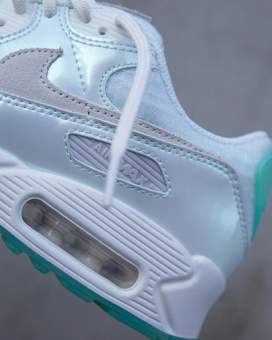 Nike Air Max 90 iridescent 2021 blanc cassé et vert jade (6)