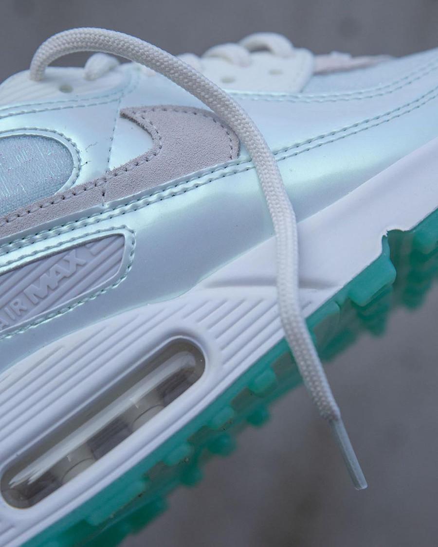 Nike Air Max 90 iridescent 2021 blanc cassé et vert jade (7)