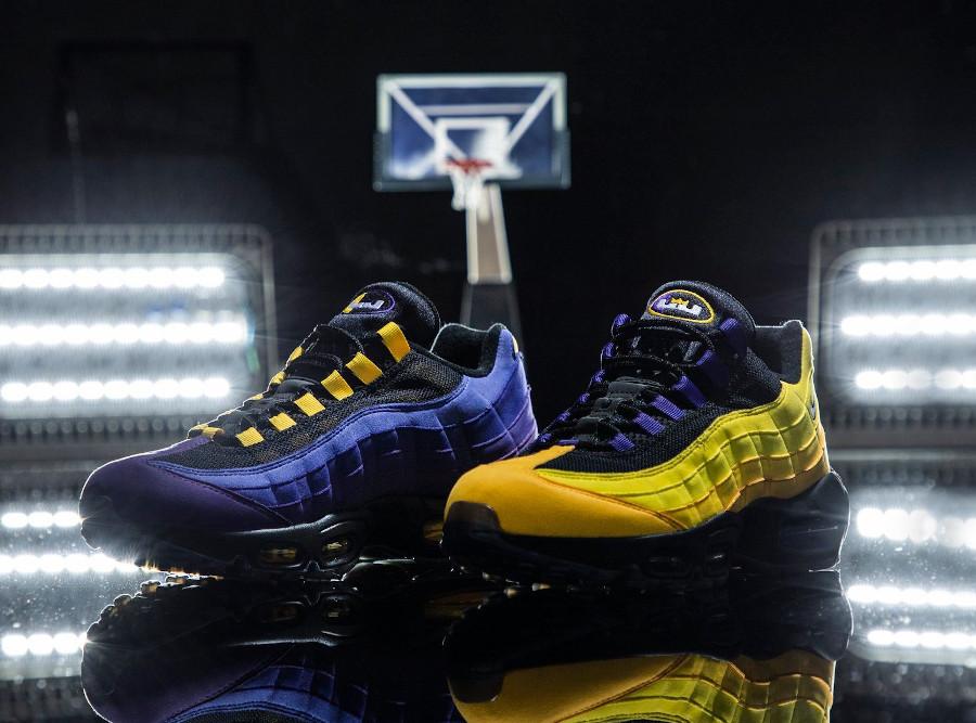 Nike Air Max 95 LBJ 2021 jaune et violet (2)