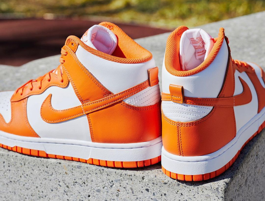 Nike Dunk Hi blanche et orange (2)