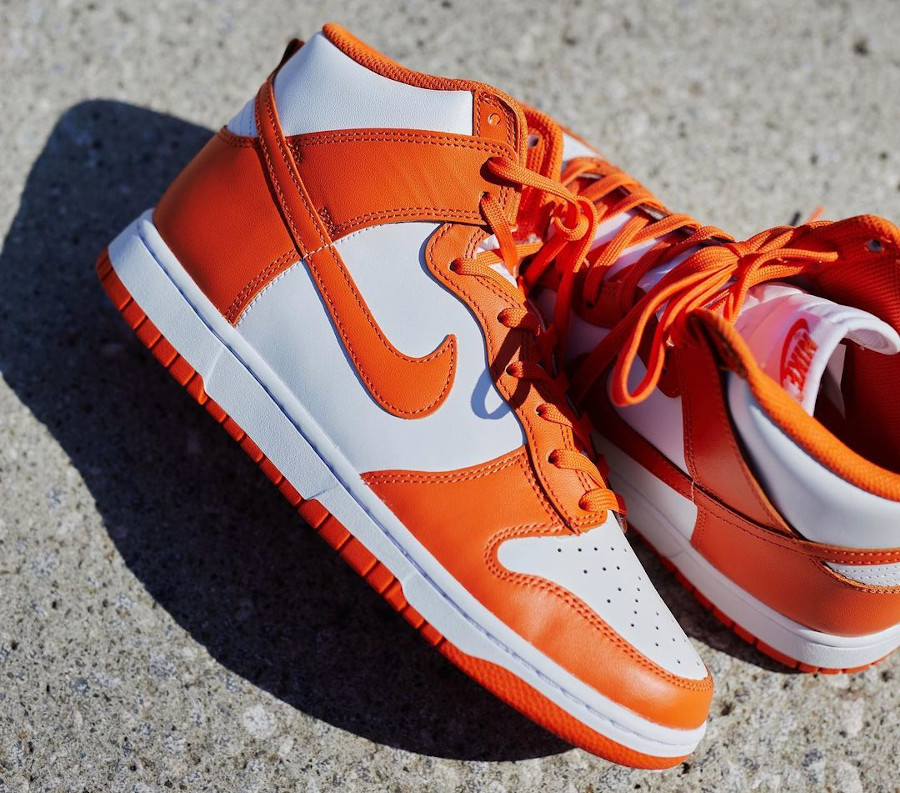 Nike Dunk Hi blanche et orange (4)