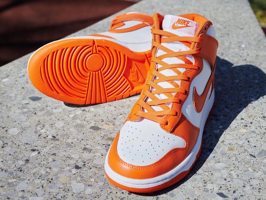 Nike Dunk Hi blanche et orange (5)