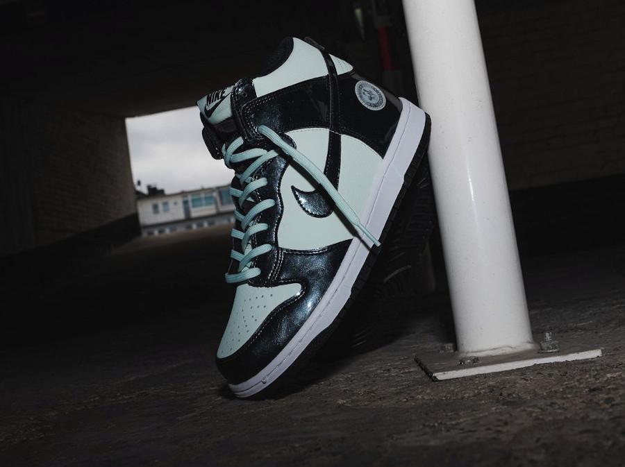 Nike Dunk High Patent Leather noire et vert menthe Indianapolis (5)