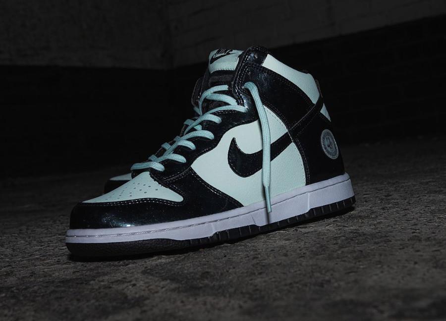Nike Dunk High Patent Leather noire et vert menthe Indianapolis (7)