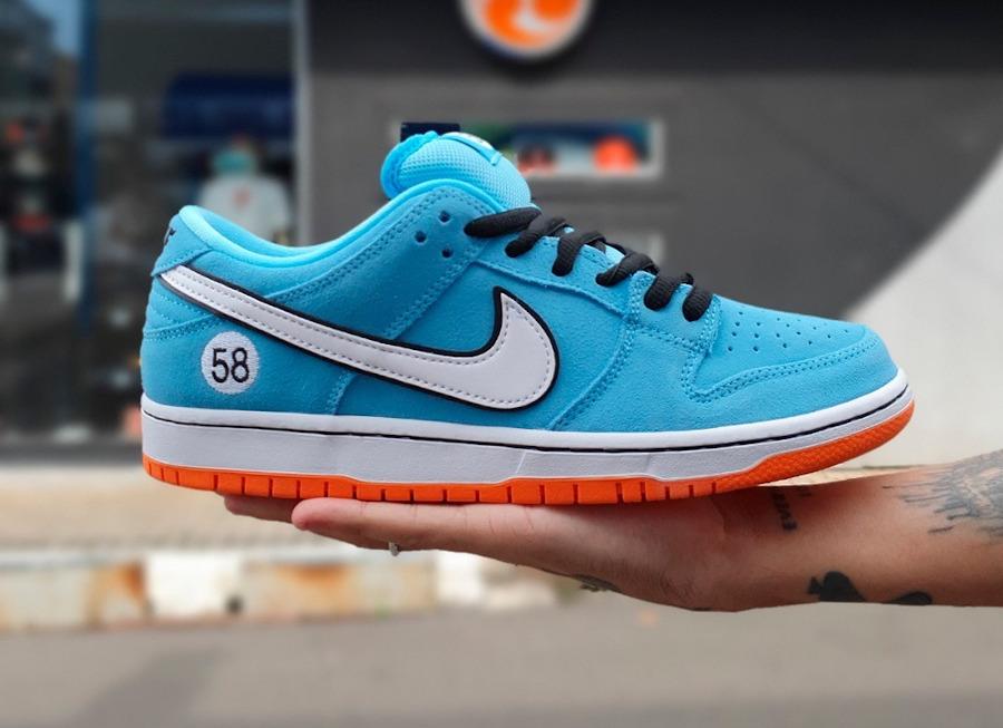 Nike Dunk Low Pro SB bleu ciel et orange (2)