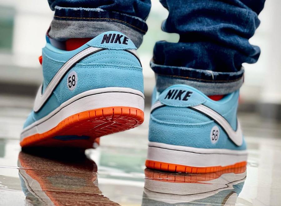 Nike Dunk Low Pro SB bleu ciel et orange (4)
