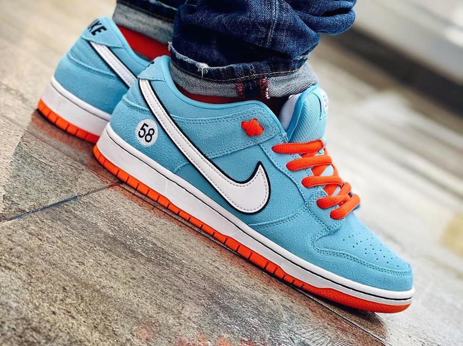 Nike Dunk Low Pro SB bleu ciel et orange (5)