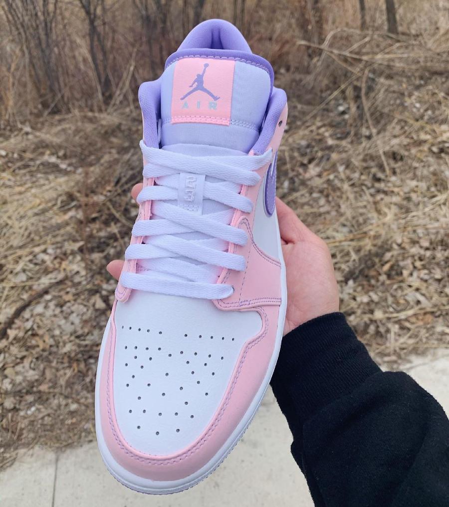Air Jordan 1 Low violet et rose pastel (2)