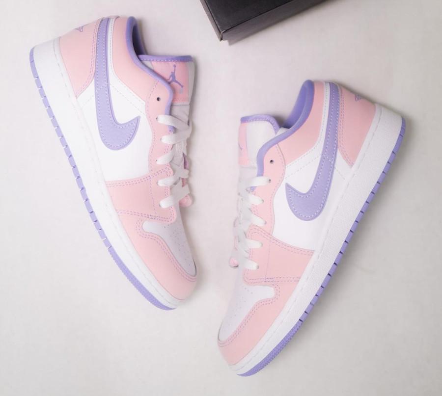 Air Jordan 1 Low violet et rose pastel (3)