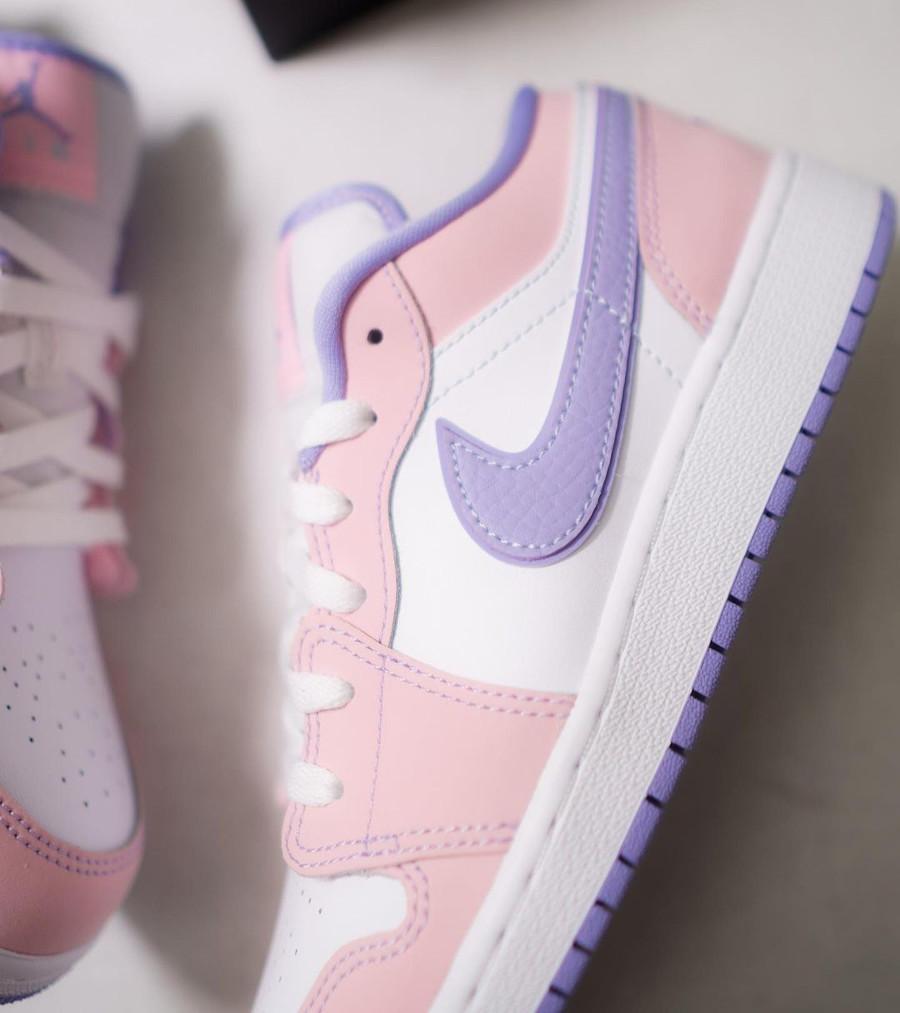 Air Jordan 1 Low violet et rose pastel (4)
