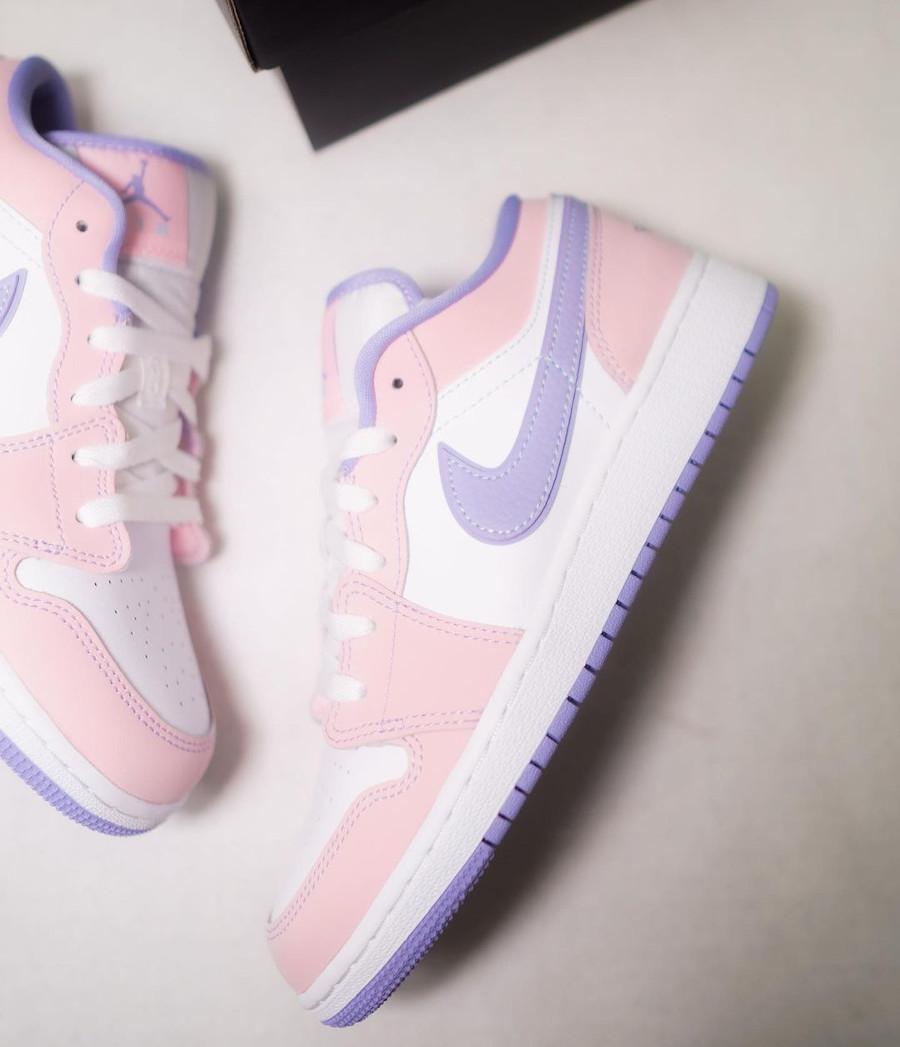 Air Jordan 1 Low violet et rose pastel (5)