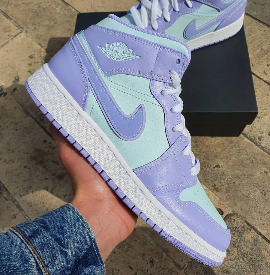 Air Jordan 1 Mid 2021 violet et bleu pastel (2)