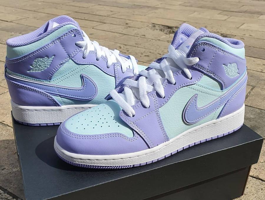 Air Jordan 1 Mid 2021 violet et bleu pastel (3)