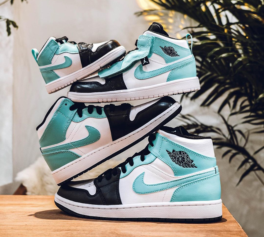 Air Jordan 1 Mid Black Toe bleu vert turquoise (1)