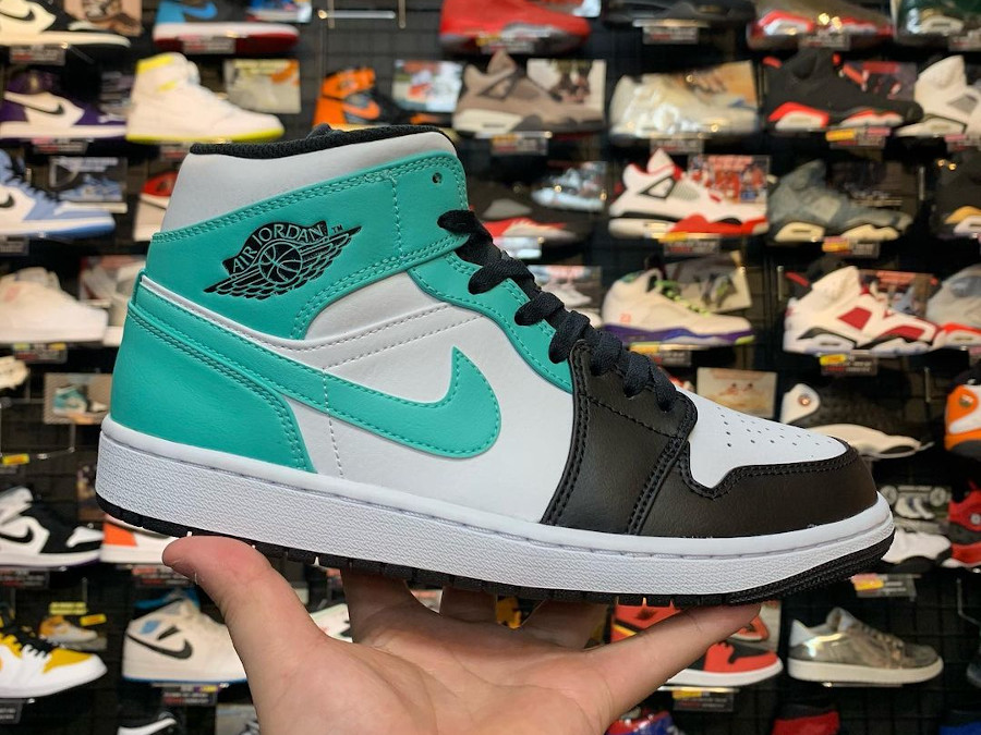 Air Jordan 1 Mid Black Toe bleu vert turquoise (2)