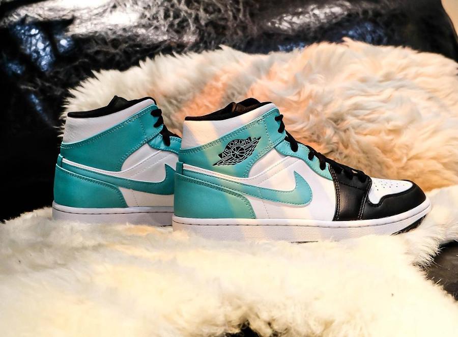 Air Jordan 1 Mid Black Toe bleu vert turquoise (3)