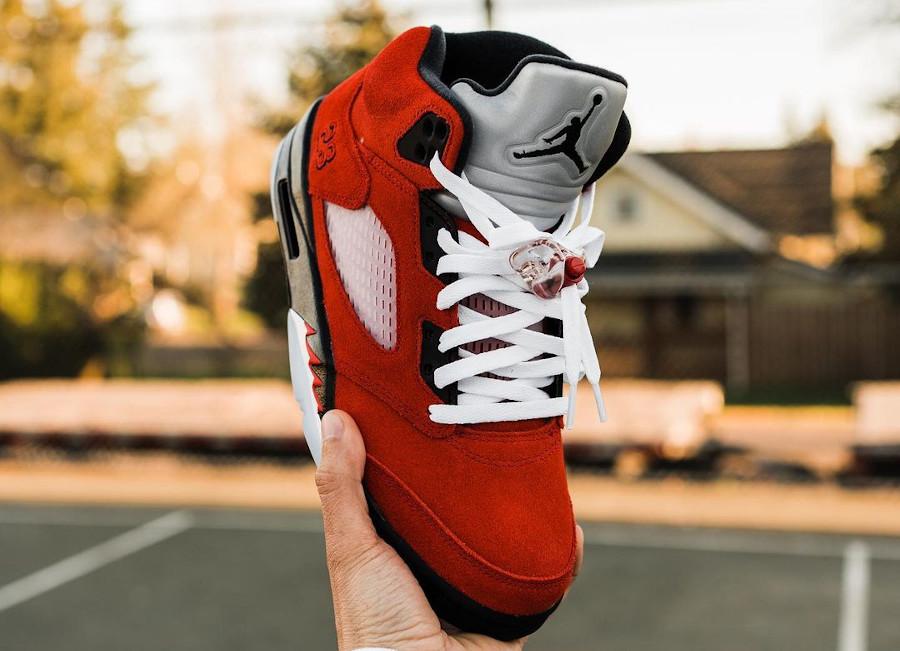 Air Jordan V Retro DMP en suède rouge (13)