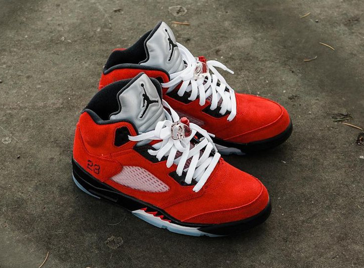 Air Jordan V Retro DMP en suède rouge (9)