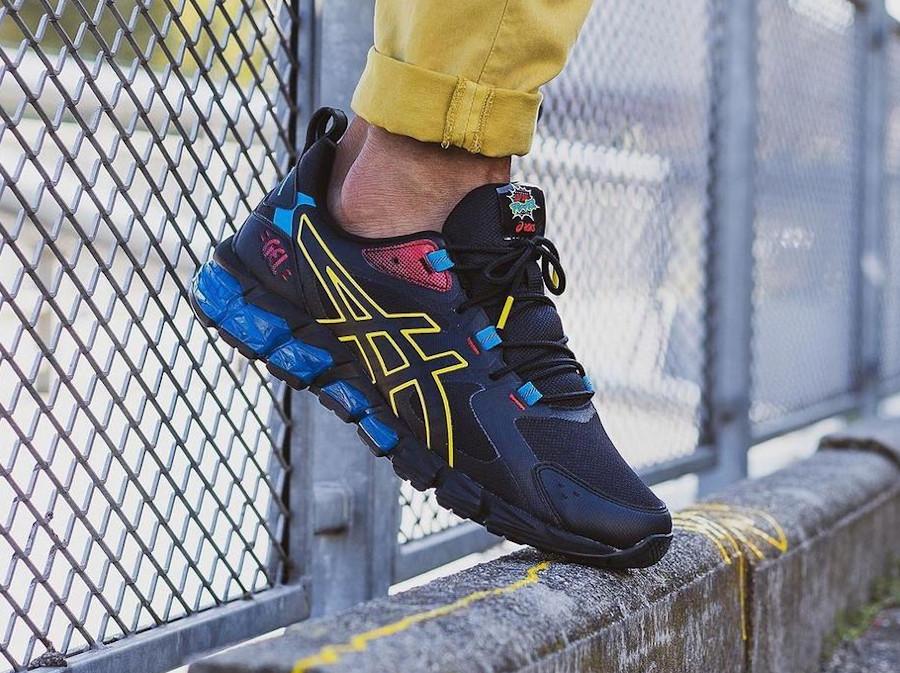 Asics Gel Quantum 180 noire bleu et jaune on feet (1)