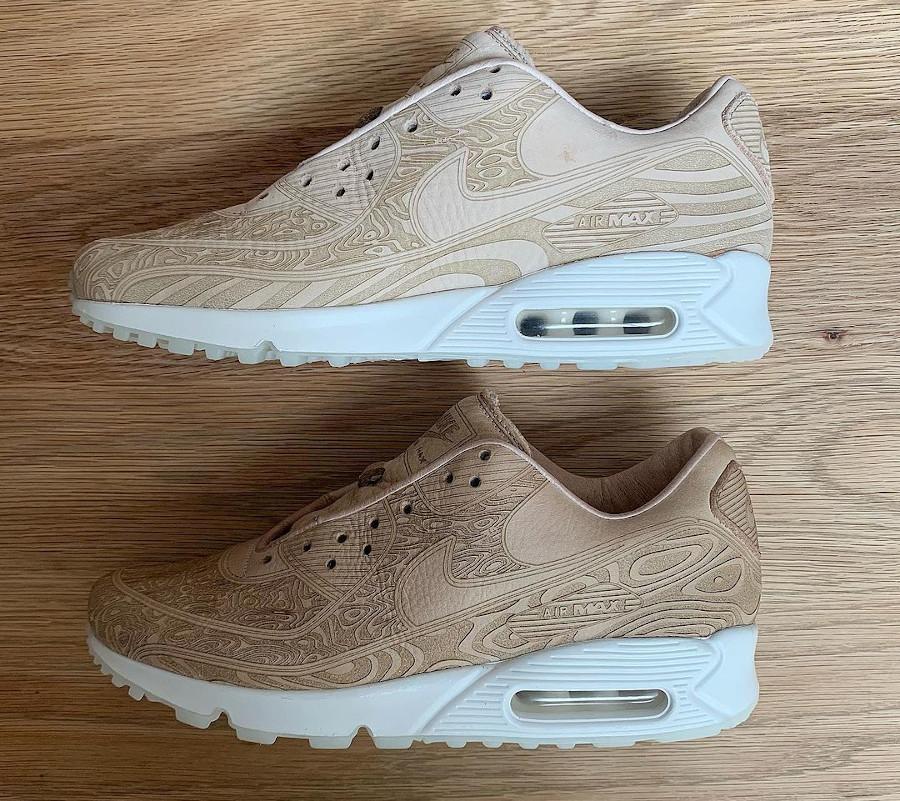 Nike AM90 PRM beige avec des gravures (4)