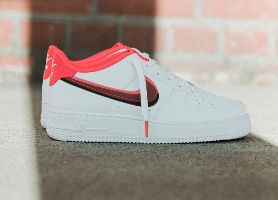 Nike Air Force One fille double Swoosh blanche et rose (1)