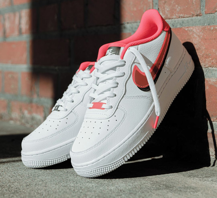 Nike Air Force One fille double Swoosh blanche et rose (2)