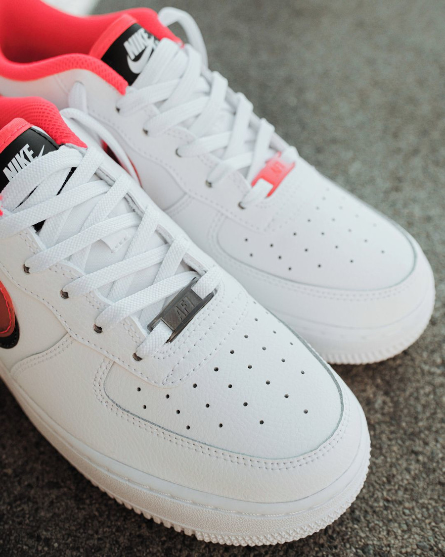 Nike Air Force One fille double Swoosh blanche et rose (4)