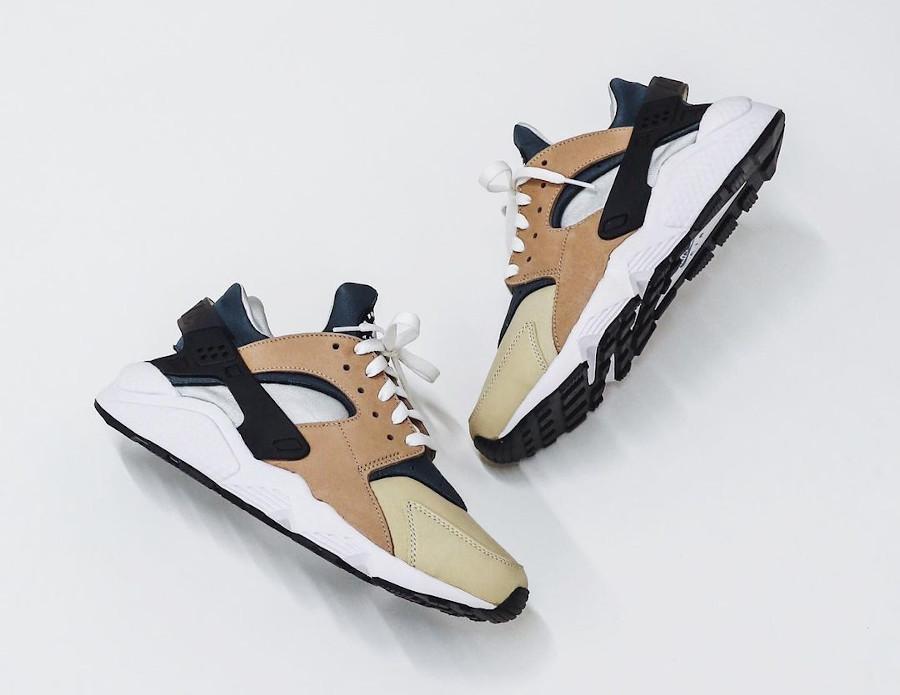 Nike Air Huarache Run beige marron et bleue (2)