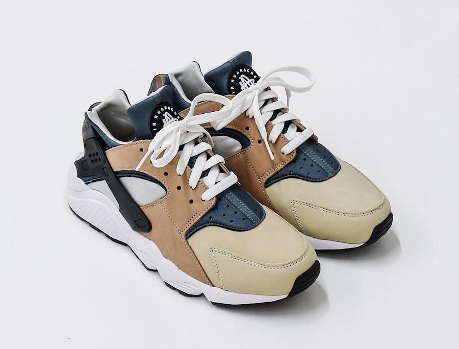 Nike Air Huarache Run beige marron et bleue (6)