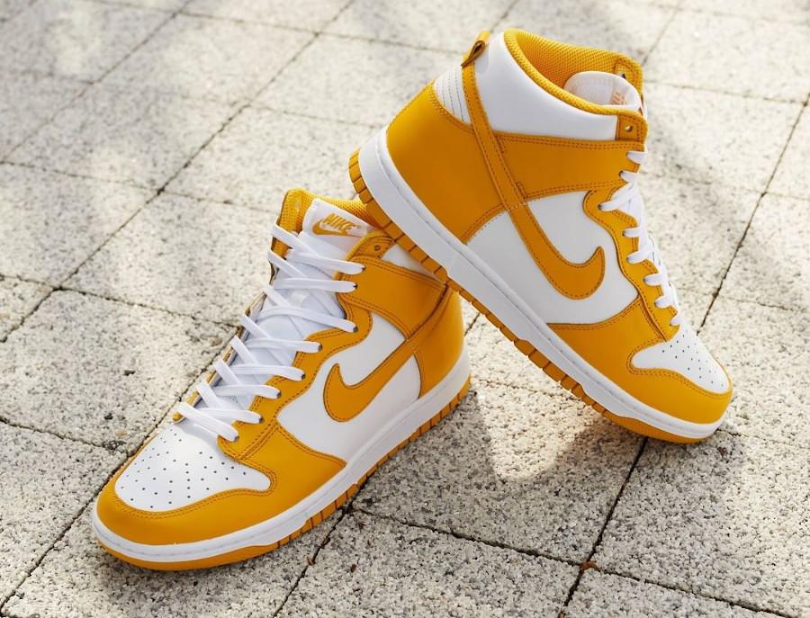 Nike Dunk Hi blanche et jaune foncé (4)