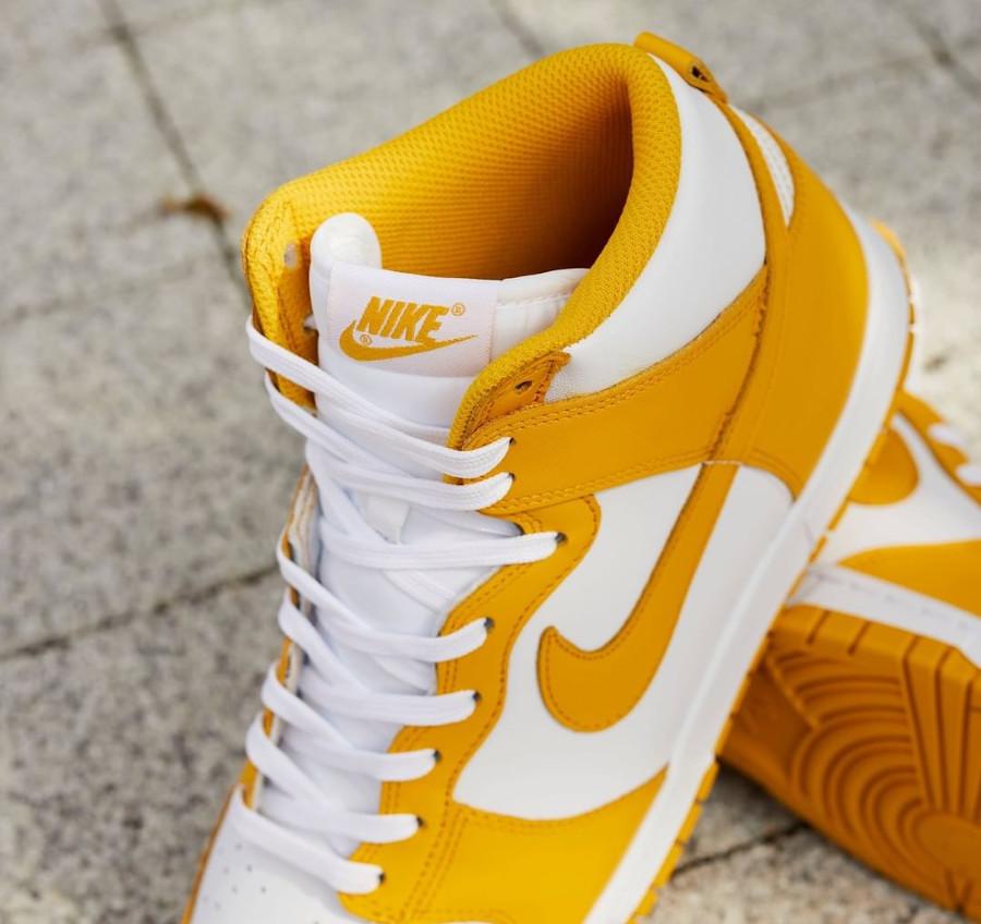 Nike Dunk Hi blanche et jaune foncé (5)