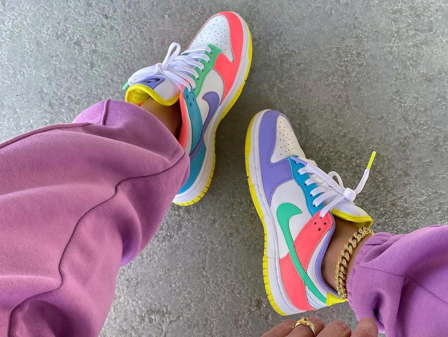 Nike Dunk Low White Green Glow Sunset Pulse on feet (1)