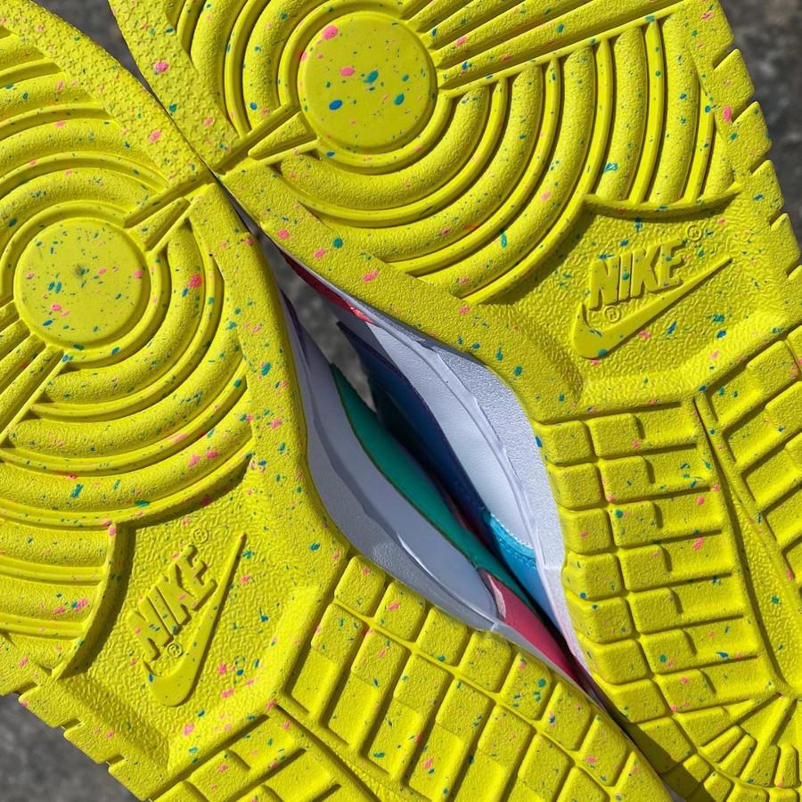 Nike Dunk Low White Green Glow Sunset Pulse on feet (2-1)