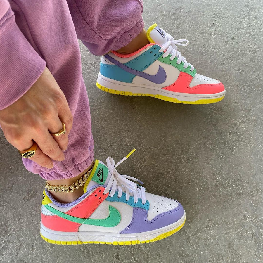 Nike Dunk Low White Green Glow Sunset Pulse on feet (2)