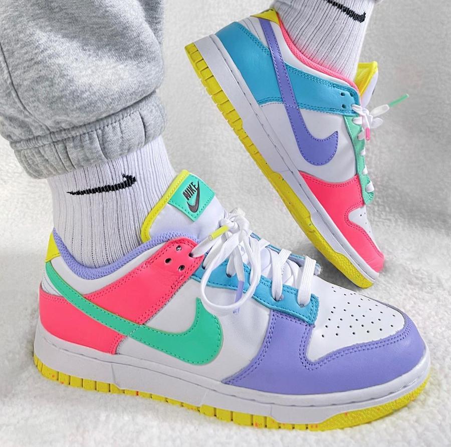 Nike Dunk Low White Green Glow Sunset Pulse on feet (3)