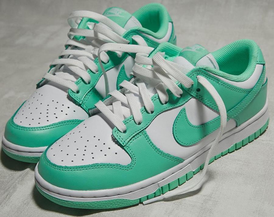 Nike Dunk Low blanche et vert jade (1)