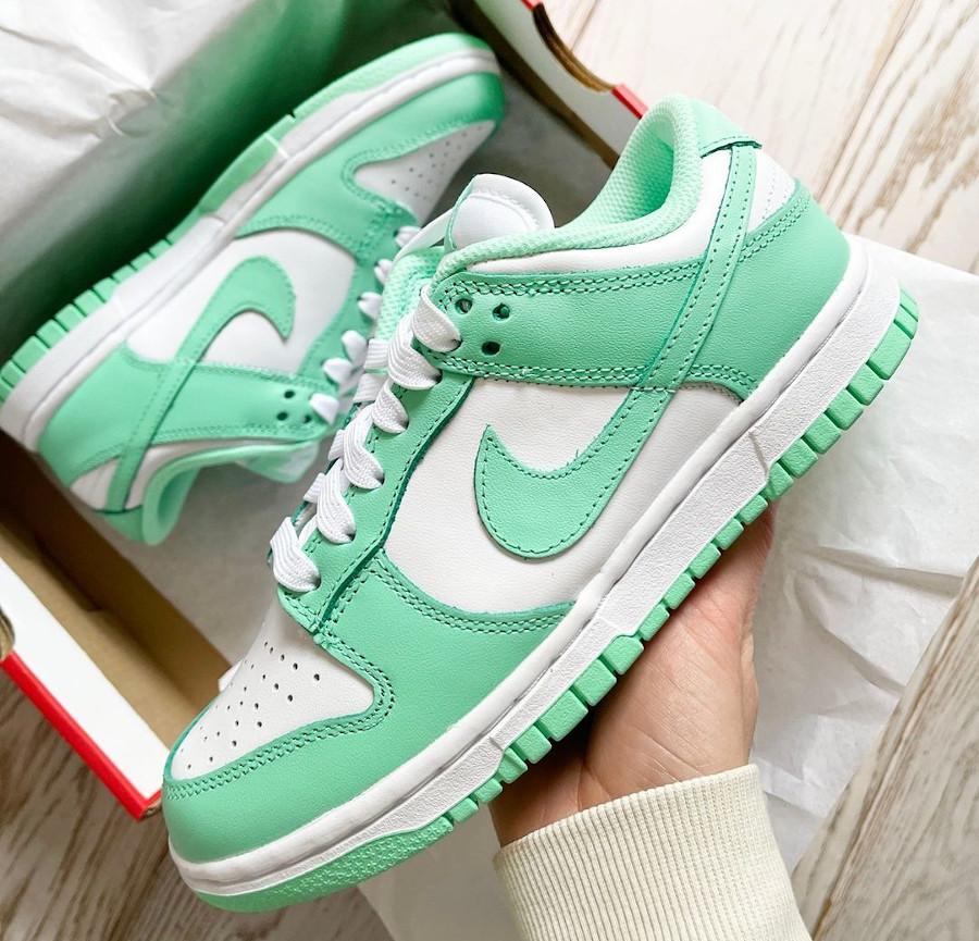 Nike Dunk Low blanche et vert jade (3)