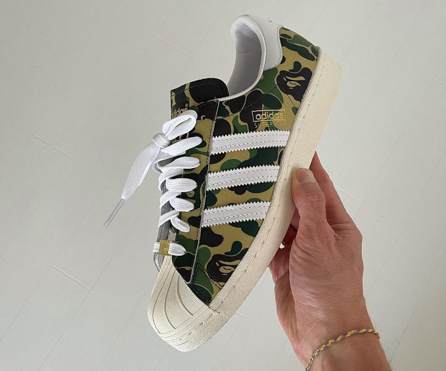 A Bathing Ape x Adidas Superstar camouflage vert 2021 (6)