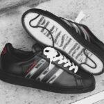 Pleasures x Adidas Consortium Superstar Black 'Interchangeable Stripes'