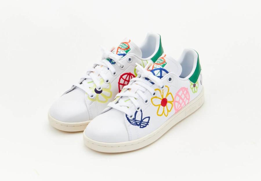 Adidas Stan Smith recyclée à fleurs (2)