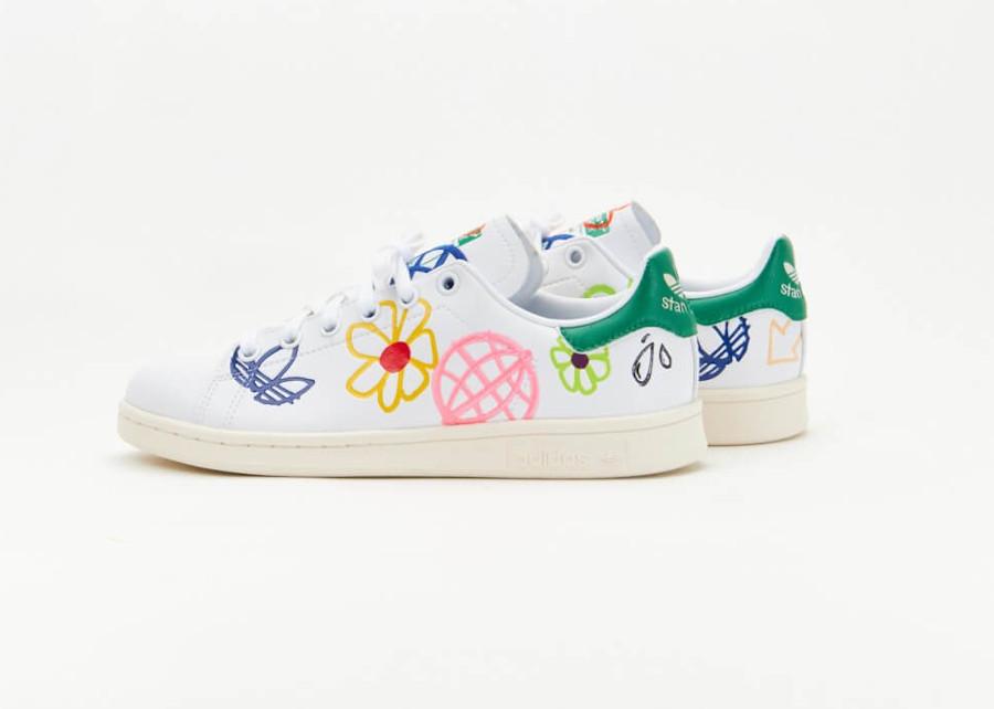 Adidas Stan Smith recyclée à fleurs (3)