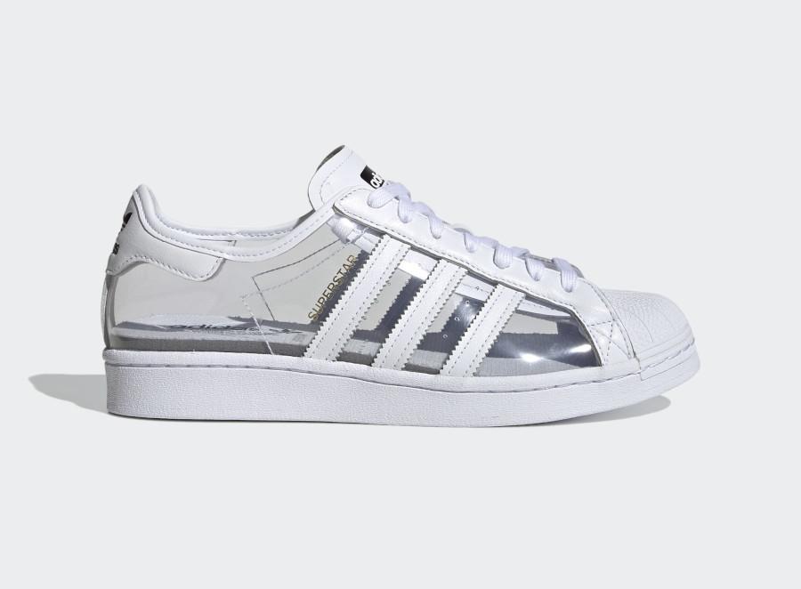 Adidas Superstar blanche en plastique transparent (1)